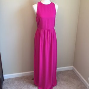 Everly Vibrant Pink Fit & Flare Maxi Dress Sz L